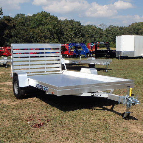 "ALUMA, LTD. 78X12 Single Torsion Axle Aluminum Trailer with 44"" Gate 14"" Radial Tires and LED Lights - Haul Supply"