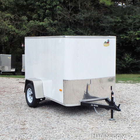 COVERED WAGON TRAILERS 5X8 Single Axle Radius Front Enclosed Cargo Trailer Single Rear Door and Radial Tires - Haul Supply