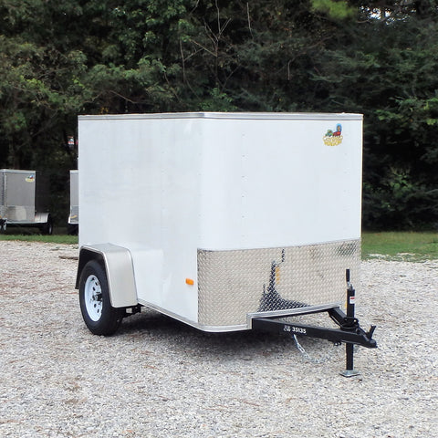 "5X8 Single Axle Flat Front Cargo Trailer with Single Swing Door and 15"" Nitro Filled Radial Tires"
