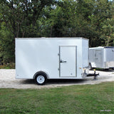 7X12 UTV PACKAGE- Single Axle V-Nose Cargo Trailer with Semi-Screwless Exterior Rear Ramp and LED Lights