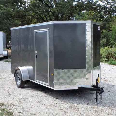 6X12 OZARK PACKAGE -Single Axle V-Nose Cargo Trailer with Rear Ramp and LED Lights