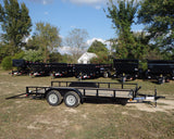 83X16 Tandem Axle Utility with Slide In Ramps Radial Tires & LED Lights