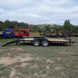 "82x20 Heavy Duty Tandem Axle Equipment Trailer with Heavy Duty Stand Up Ramps 15"" Radial Tires & LED Lights"