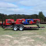 82X18 Heavy Duty Tandem Axle Equipment Trailer with Deluxe Bobcat Ramps Self Cleaning Dove Tail and LED Lights