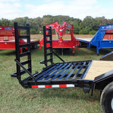82X20 Heavy Duty Tandem Axle Equipment Trailer with Deluxe Bobcat Ramps Self Cleaning Dove Tail Powder Coated