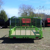 83x18 Tandem Axle Utility Trailer with 4' Fold Gate Pipe Top Side Rails and LED Lights