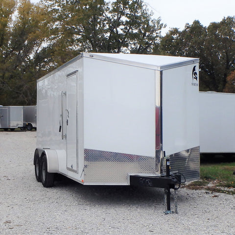 "7x16 Tandem Axle Slanted V-Nose Cargo Trailer with 84"" Interior Height Rear Ramp and LED Lights"