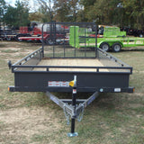 "77x14 Single Axle Utility Trailer with 4' Fold Gate Tubing 15"" Radials and LED Lights"