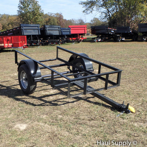 "5X8 Single Axle Floorless Utility Trailer with 3500 lb Axle and 15"" Radial Tires"