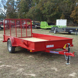 "LOAD TRAIL 77X12 Single Axle Utility Trailer with Solid Sides 4' Fold Gate w/ Spring Assist 15"" Radial Tires and LED Lights - Haul Supply"