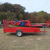 "77X12 Single Axle Utility Trailer with Solid Sides 4' Fold Gate w/ Spring Assist 15"" Radial Tires and LED Lights"