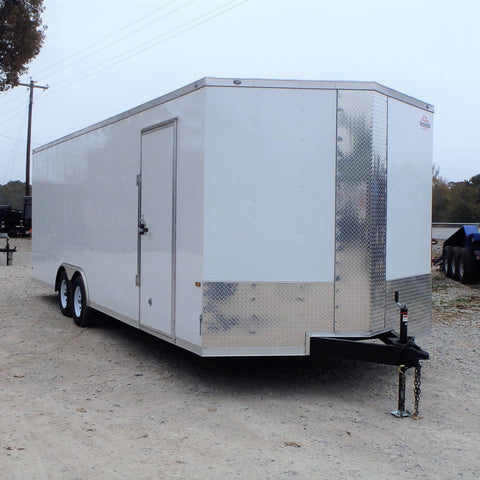 "8.5x24 Tandem Axle V-Nose Cargo Hauler with 84"" Interior Height Therma Cool Ceiling Rear Ramp and LED Lights"