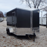 "7X14 UTV PACKAGE- Tandem Axle Slanted V-Nose Cargo Trailer with 84"" Interior Height Screwless Exterior and LED Lights"