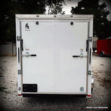 "6X10 OZARK PACKAGE- Single Axle Slanted V-Nose Cargo Trailer with Rear Ramp 15"" Radial Tires and LED Lights"