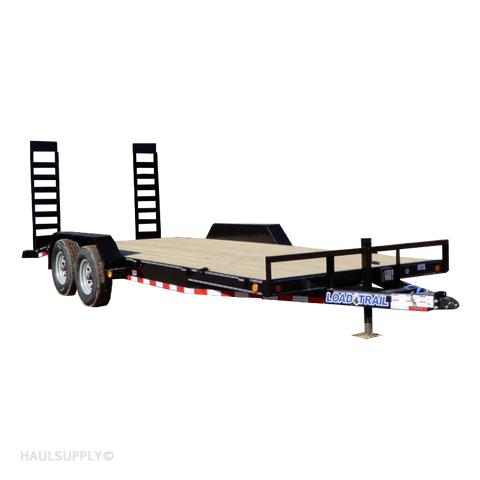 "83x20 Tandem 10K Axle Car Hauler with Rear Fold Up Ramps 15"" Radial Tires and LED Lights"