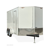 "7X16 Tandem Axle V-Nose Cargo Trailer 84"" Interior Height Screwless Exterior Rear Ramp Radials and LEDs"