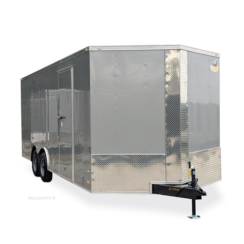 "8.5X20 Tandem Axle V-Nose Enclosed Cargo Trailer 84"" Interior Rear Ramp Radials and LEDs"