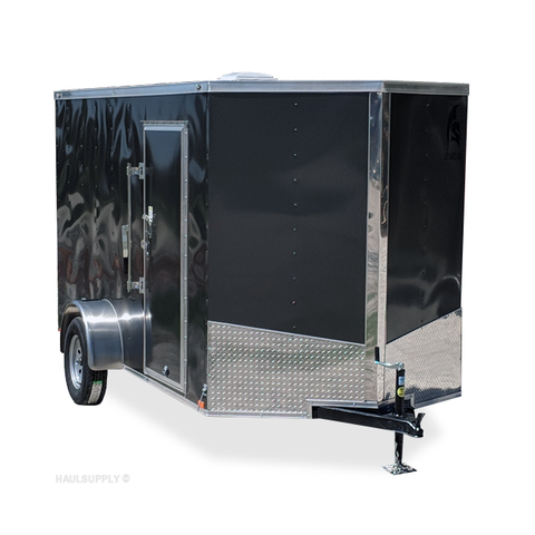 "6X12 Single Axle Slanted V-Nose Cargo Trailer 78"" Interior Height Rear Ramp with Flap Radial Tires and LEDs"