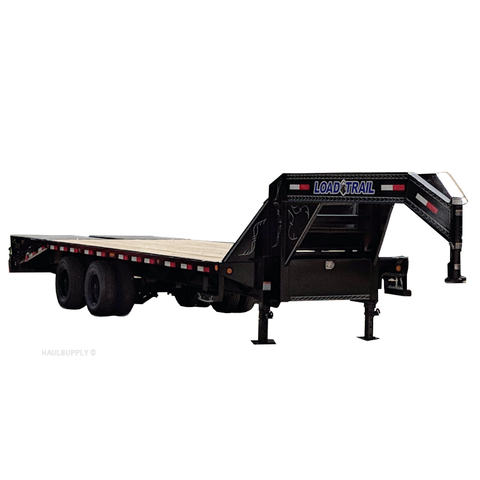 "LOAD TRAIL 102X25 Tandem Axle Gooseneck Trailer Max Ramps Self Cleaning Dovetail 16"" Radial Tires and LED Lights - Haul Supply"