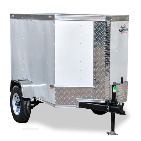 ROCK SOLID 4X6 Single Axle V-Nose Cargo Trailer Single Rear Door and LED Lights - Haul Supply