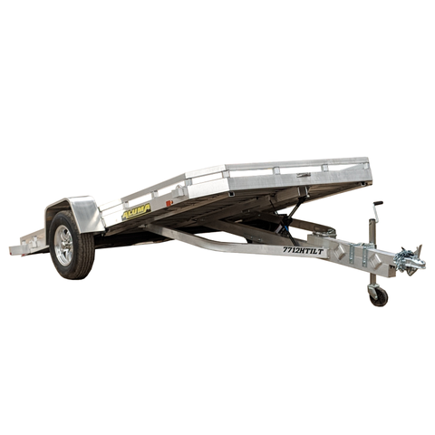 ALUMA, LTD. 6X12 Single Axle Aluminum Utility Trailer Tilt Deck Radial Tires and LED Lights - Haul Supply