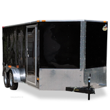 7X16 Tandem Axle V-Nose Enclosed Cargo Trailer Rear Ramp and Radial Tires