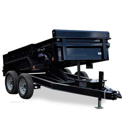 LOAD TRAIL 60X10 Tandem Axle Dump Trailer 3-Way Rear Gate Slide-In Ramps Radial Tires and LED Lights - Haul Supply