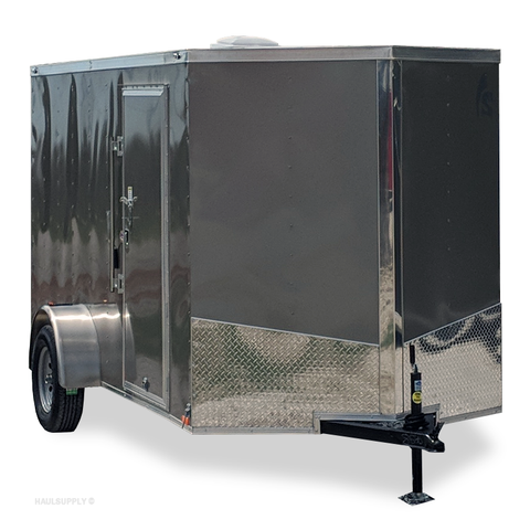 "6X12 Single Axle V-Nose Cargo Trailer 75"" Interior Rear Ramp with Flap Radial Tires and LED Lights"