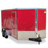 7X16 Tandem Axle V-Nose Cargo Trailer Rear Ramp Radial Tires and LED Lights