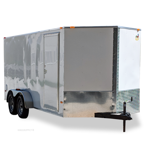 "7X16 Tandem Axle V-Nose Enclosed Cargo Trailer Rear Ramp and Radial Tires 78"" Interior Height"