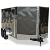 7X14 Tandem Axle V-Nose Cargo Trailer Rear Ramp with Spring Assist
