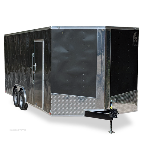 "8.5X20 Tandem Axle V-Nose Car Hauler 84"" Interior Rear Ramp Beavertail Radials and LED Lights"