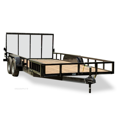 82X20 Tandem Axle Utility Trailer Side Rail Ramps Radial Tires and LED Lights