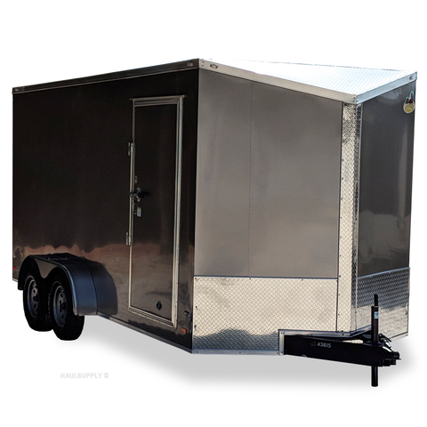 "7X16 Tandem Axle Slanted V-Nose Cargo Trailer 84"" Interior Rear Ramp Radial Tires and LEDs"