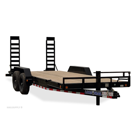 "83X20 Tandem Axle Equipment Trailer 5' Fold Up Ramps Dovetail 16"" Radial Tires and LED Lights"