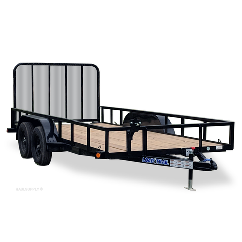 83X16 Tandem Axle Utility Trailer 4' Fold In Rear Gate Radial Tires and LED Lights