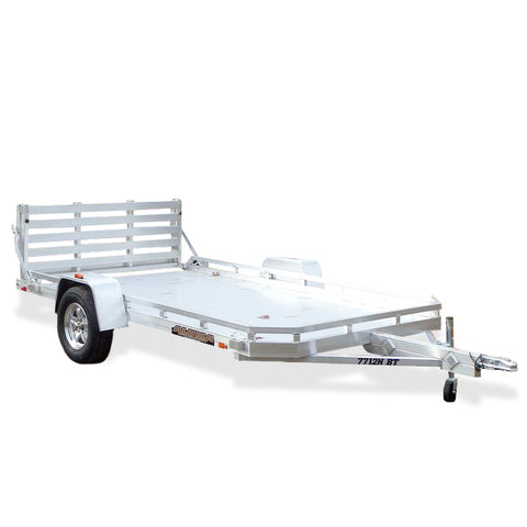 "ALUMA, LTD. 77X12 Single Torsion Axle Aluminum Utility Trailer with 5' Bi-Fold Tailgate 13"" Radial Tires and LED Lights - Haul Supply"