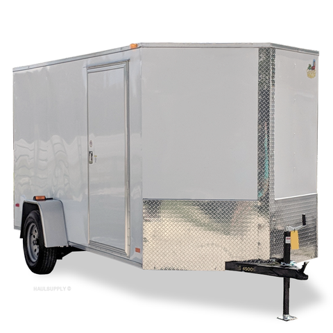 COVERED WAGON TRAILERS 6X12 Single Axle V-Nose Cargo Trailer with Rear Ramp and Side Door - Haul Supply