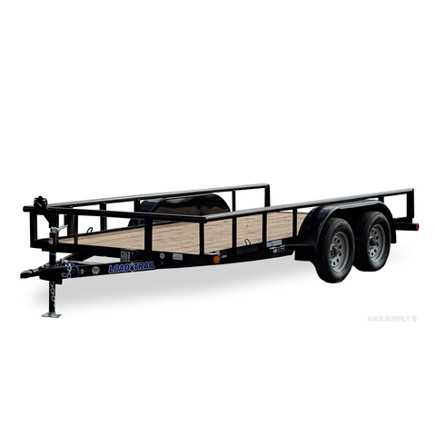 LOAD TRAIL 77X14 Tandem Axle Utility Trailer Pipe Top Rails Radial Tires and LED Lights - Haul Supply