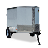 COVERED WAGON TRAILERS 4X6 Single Axle V-Nose Cargo Trailer Single Rear Door and LED Lights - Haul Supply
