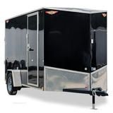 "HH TRAILERS 6X12 Single Axle Slant V-Nose Cargo Trailer 78"" Interior Rear Ramp Radial Tires and LED Lights - Haul Supply"