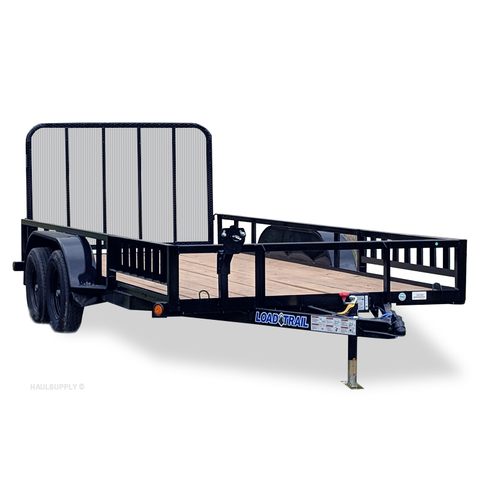 83X14 Tandem Axle Utility Trailer 4' Fold In Gate Side Rail Ramps Radial Tires and LED Lights