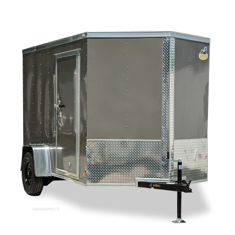 COVERED WAGON TRAILERS 6X10 Single Axle V-Nose Enclosed Cargo Trailer Rear Ramp Radial Tires and LED Lights - Haul Supply