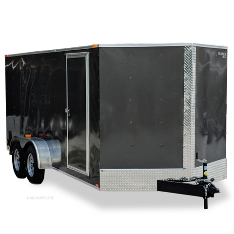 7X16 Tandem Axle V-Nose Cargo Trailer Rear Ramp and Radial Tires