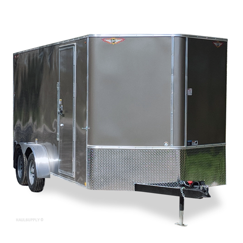 "7X16 Tandem Axle V-Nose Cargo Trailer 78"" Interior Rear Ramp Radial Tires and LED Lights"