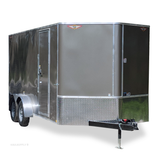 "7X16 Tandem Axle Slanted V-Nose Cargo Trailer 84"" Interior Height Rear Ramp Radials and LEDs"
