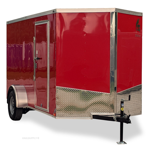 SPARTAN 6X12 Single Axle V-Nose Enclosed Cargo Trailer Rear Ramp Radial Tires and LED Lights - Haul Supply
