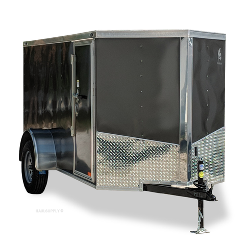 SPARTAN 5X10 Single Axle V-Nose Cargo Trailer Rear Ramp Radial Tires and LED Lights - Haul Supply