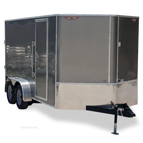 "7X14 Tandem Axle V-Nose Cargo Trailer 78"" Interior Rear Ramp Radial Tires and LED Lights"