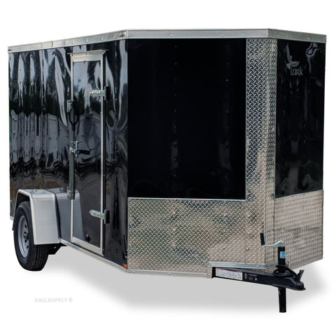LARK 6X12 Single Axle V-Nose Cargo Trailer Rear Ramp Radial Tires and LED Lights - Haul Supply
